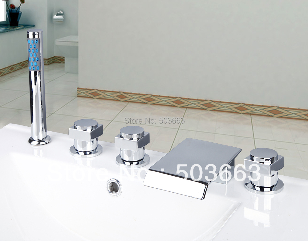 цена на Newly Waterfall Bathroom Bathtub Basin Brass Ceramic Valve Chrome Sink Mixer Double Handles Deck Mounted Tap Faucet MF-323