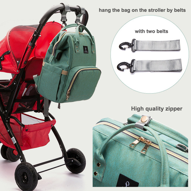 Baby diaper bag mommy stroller bags USB large capacity waterproof nappy bag kits mummy maternity travel backpack