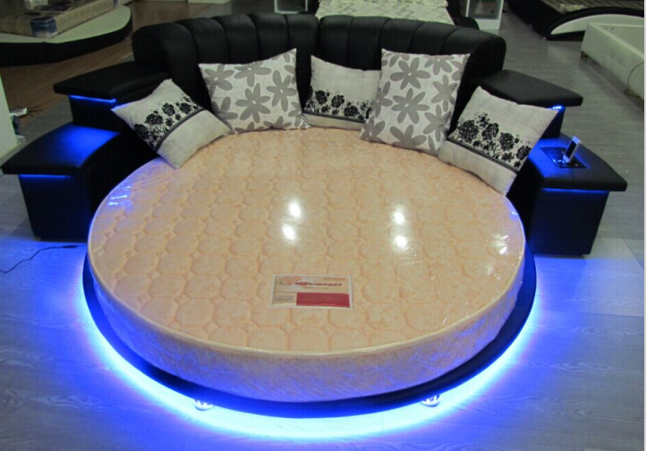Modern Bedroom Furniture Round Beds Round King Size Beds With Led Light Music Player