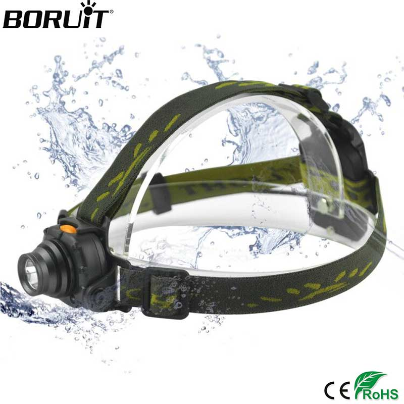 BORUIT 2000LM XPE LED Mini Headlight IR Sensor 3 Modes Headlamp Camping Hunting Waterproof Head Torch AAA Battery Flashlight