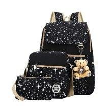 3 teile/satz frauen leinwand rucksack koreanischen back pack schultasche rucksack für teenager mädchen reisen rucksack mochila escolar feminina