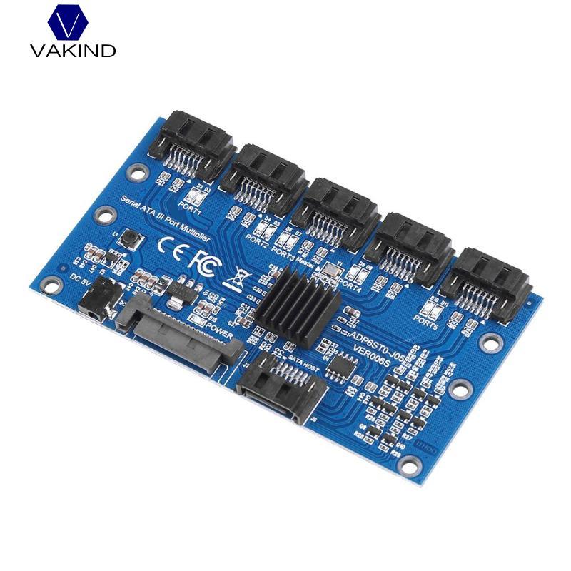 Vakind SATA Expansion Card 1 to 5 Port SATA3.0 Motherboard 6Gbps Riser Card HUB sata 1 to 5 hub pm router port multiplier riser card splitter storage adapter jmb321 chipset