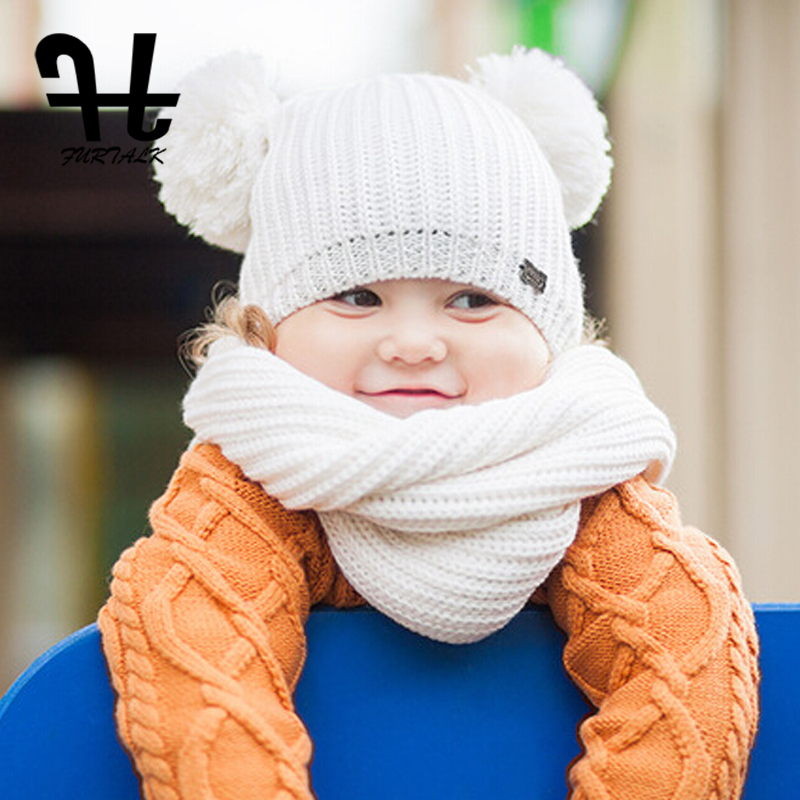 373535880785a FURTALK children s winter pom pom hat and scarf sets warm knit beanie hats  for girls and