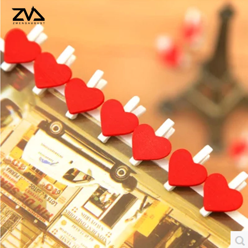 10 Pcs/Lot Cute Mini Love Heart Spring Wood Clip Photo Clips For Clothespin Craft Clips Party Decoration Clip With Hemp Rope