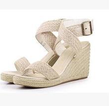 Пеньковая веревка ткачество водонепроницаемая обувь босоножки на танкетке бледно золотой модная обувь