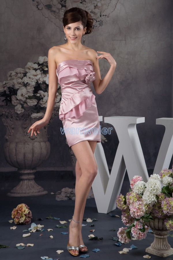 free shipping 2016 arrival hot sale fashion design handmade flower mini real custom size/color short pink sexy   bridesmaid     dress