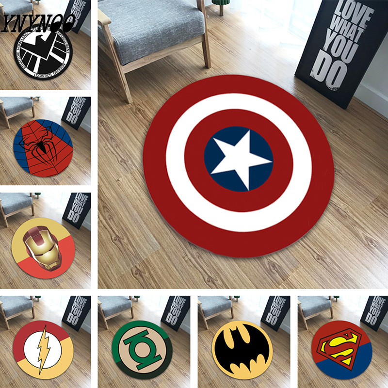 60*60cm Avengers Carpet Marvel Plush Toys Batman Spiderman Iron Man Captain America Rug Flannel Gift For Kids