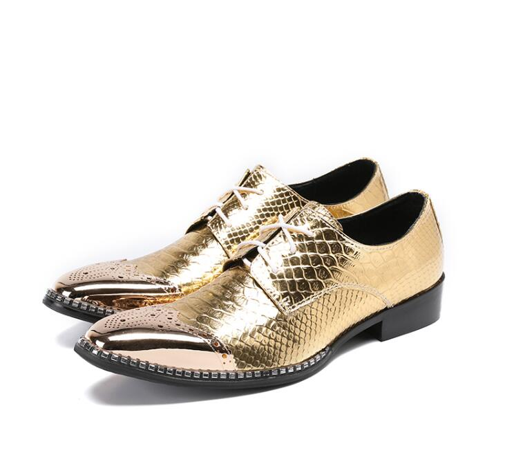 Shoes Men lace up pointed toed formal dress genuine leather gold Stone Pattern chunky heel iron toes male 5cm brogue shoes