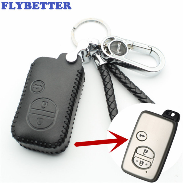 FLYBETTER Genuine Leather 3Button Smart Remote Key Case Cover For Toyota Prado/Crown/Camry/Reiz Car Styling (B) L2034