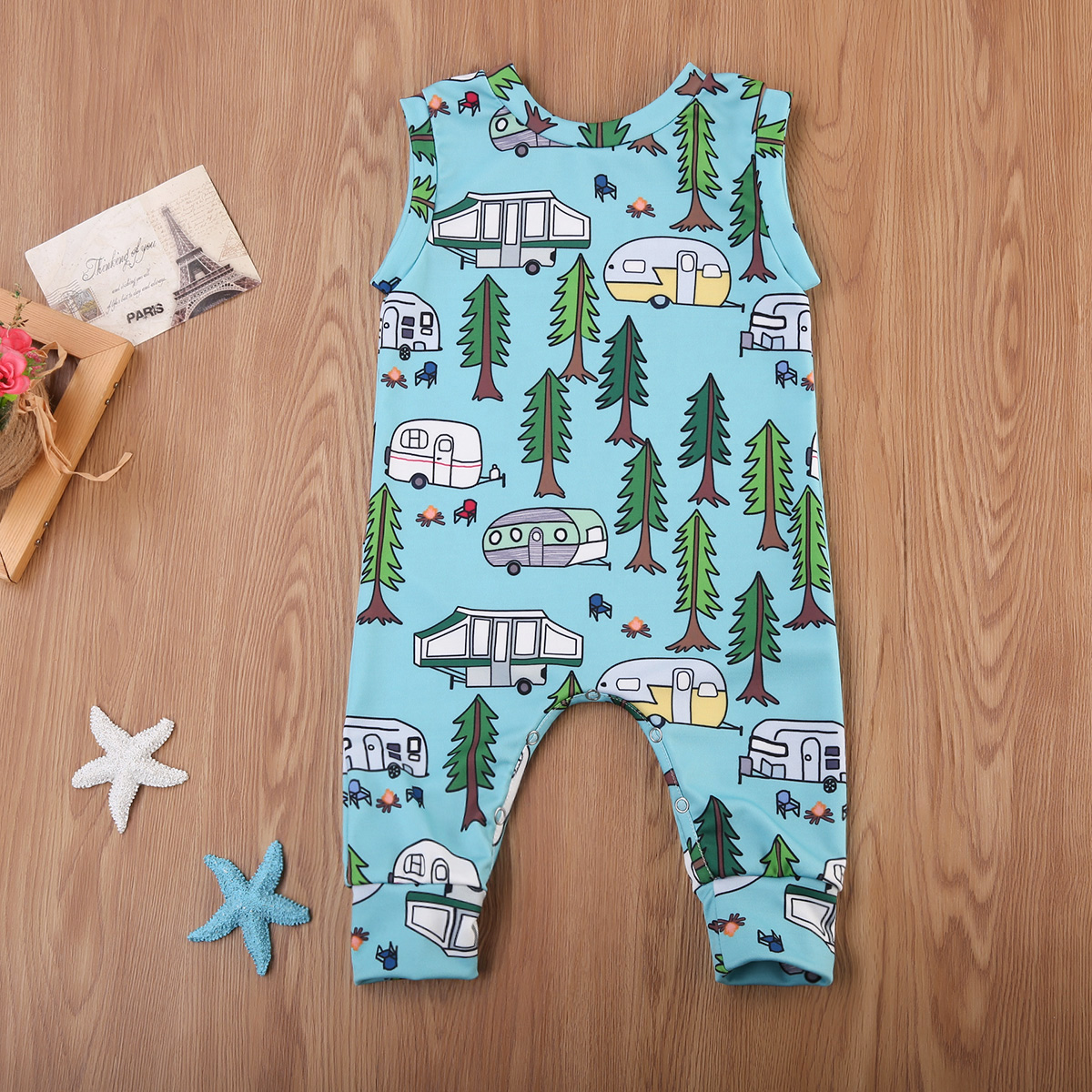 Hot Cartoon Car Baby Boy Girl   Romper   Cotton Sleeveless Jumpsuit Playsuit Clothes Outfits