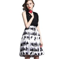 High Quality New Character Printed Skirt Sets Women Vintage Elegant 2pcs Top Vest Skirt Suit High