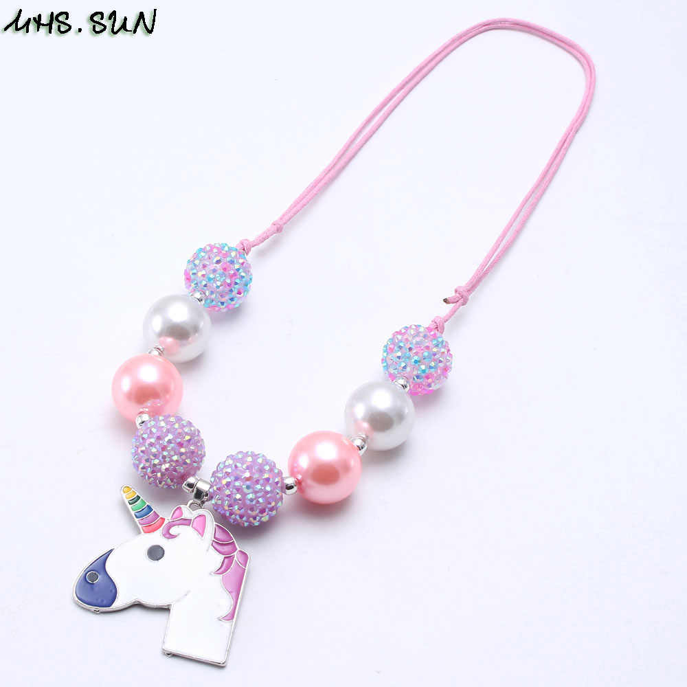 MHS.SUN 1PC Chunky Bubblegum Beads Baby Cute Unicorn Pendant Necklaces Adjust Rope Chain For Children Girls Chain Jewelry Gift