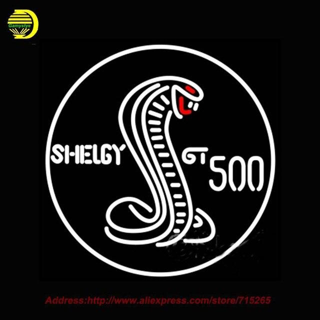 2017 Hot Neon Zeichen Shelby Gt 500 Runde Weiß Cobra Glasrohr Handcrafted Erholung Room Home Ikonischen Zeichen Publicidad Neon 24x24