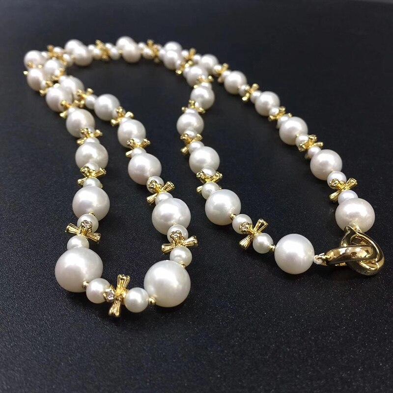 Image 5 - Collar de cadena de perlas de Sinya, collar largo con cordones de perlas naturales redondas para mujer, chica, amante de las madres, 85cm de longitud, diámetro 10 11mmnecklaces for womennecklace roundnecklace long -