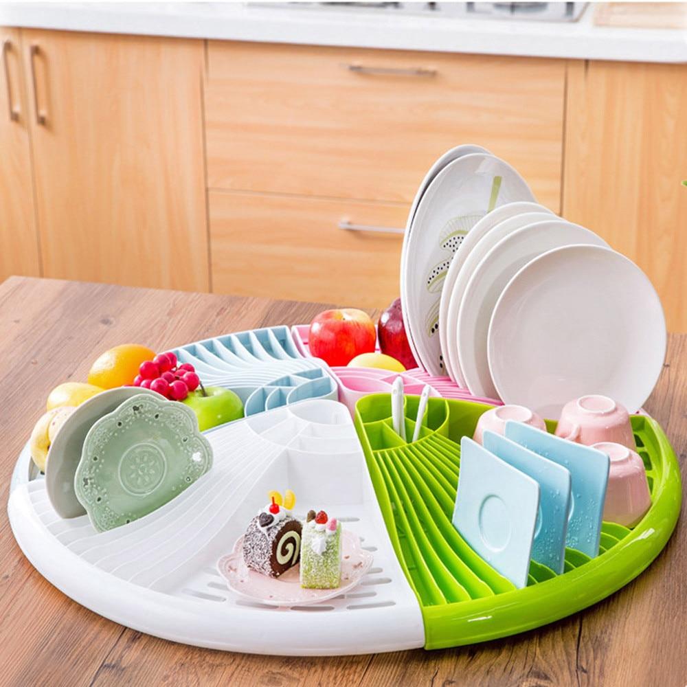 Esquina de plástico Bandeja de Plato Sostenedor Del Plato de la Cocina Estante d