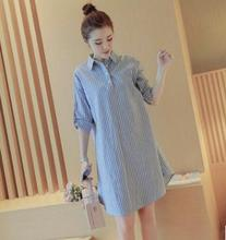 2019 Striped cotton Maternity blouses Spring&Summer New clothes for pregnant women large size pregnancy shirt dress SH-6638 maternity dress shirt size cotton backing the new spring and summer modal abdominal maternal lactation clothes feeding