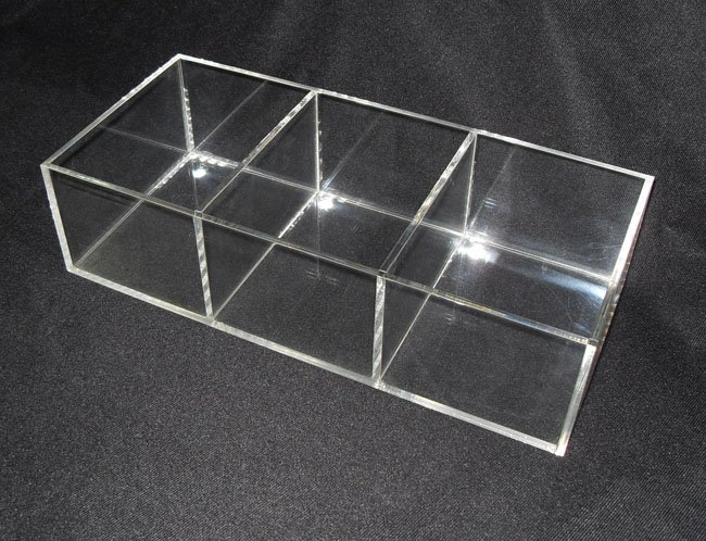 Transparent acrylic jewelry display box storage dispenser with 3 compartments