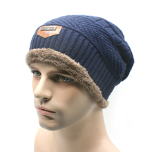 New 2016 Knitted Gorro Touca Mens Winter Hat Beanie Men Warm skullies Casual Cap Two layers Have thick