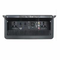 Brush clamshell multifunction desktop socket/VGA /USB / HDMI /Microphone 3.5 AUDIO / Hidden desktop socket brushed