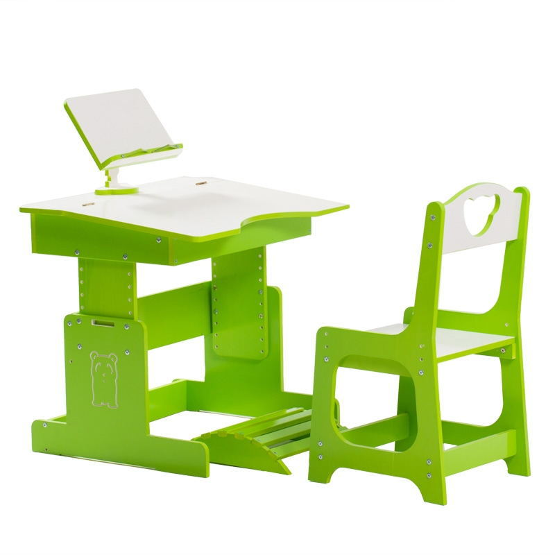 Strong PVC Chaise Kid Furniture Children Desk & Chiars Ajustable Height Baby Mini Table with Book Holder Durable Safe Material