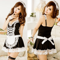 2015 Sexy Lingerie Sexy Underwear Lovely Female Maid Classical Lace Sexy Miniskirt Lolita Maid Outfit Sexy