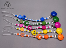 custom -Any name Hand made 5 colors choose wooden beads dummy clip holder pacifier clips soother chain teether