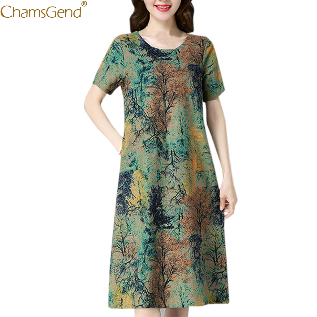 Printed Loose summer dresses women 2019 summer dress cotton summer dresses casual Short Sleeve O Neck Pocket Mar