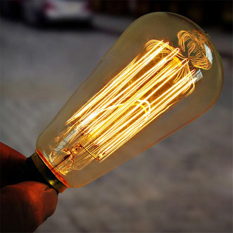 LumiParty 40W E27 220-240V Retro Edison Light Bulb Yellow Light W-filament Bulb Coffee House Decor Industrial Style Lamp