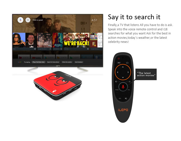 iLEPO I18 Google Voice Control Android TV 7 1 Smart box 2G 16G S905W 2 4G  Wifi MAG25X Stalker Play Store