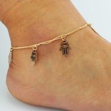 Горячие продажи Фатима рука бахромой двойные ноги Ножной Браслет ювелирные изделия оптом