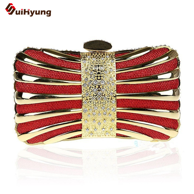 2016 New Women Banquet Day Clutches Fashion Diamond Evening Bag Wedding Party Bridal Handbag Double Chain