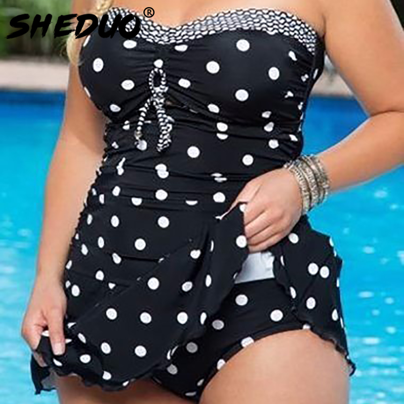 Dots Print Swimwear Brazilian Monokini <font><b>Skirt</b></font> Swimsuit Women Bodysuit <font><b>Plus</b></font> <font><b>Size</b></font> Swimsuit 2017 Vintage Retro <font><b>Bathing</b></font> <font><b>Suit</b></font> bikinis image