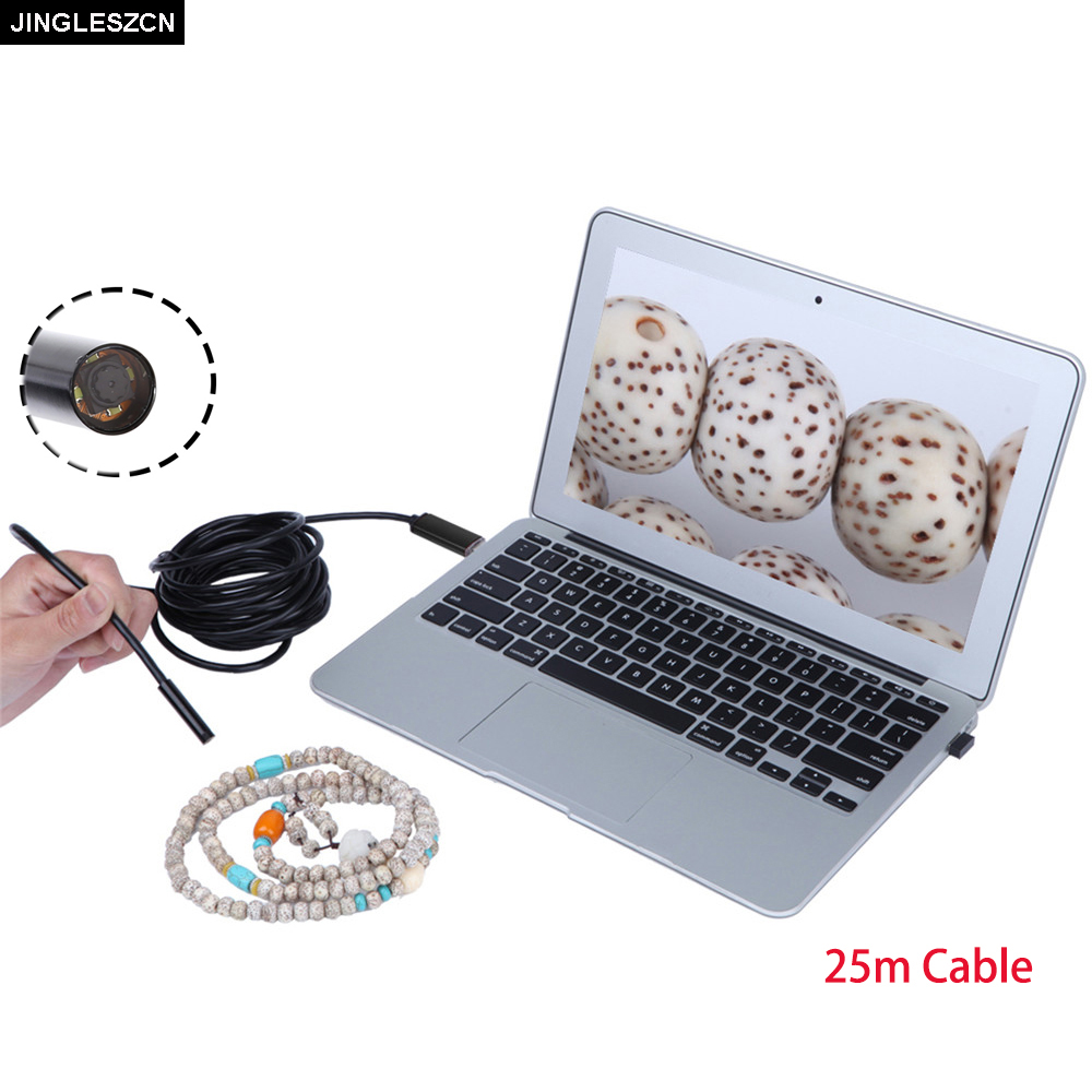 JINGLESZCN 10mm USB Endoscope Camera 25m Windows 4 LED CMOS Waterproof IP67 Inspection Borescope Mini Snake Video Cam Windows PC