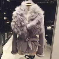 South Korean Women Autumn Winter 2017 New Luxury Fox Fur Collar Faux Leather Suede Quilted Jacket