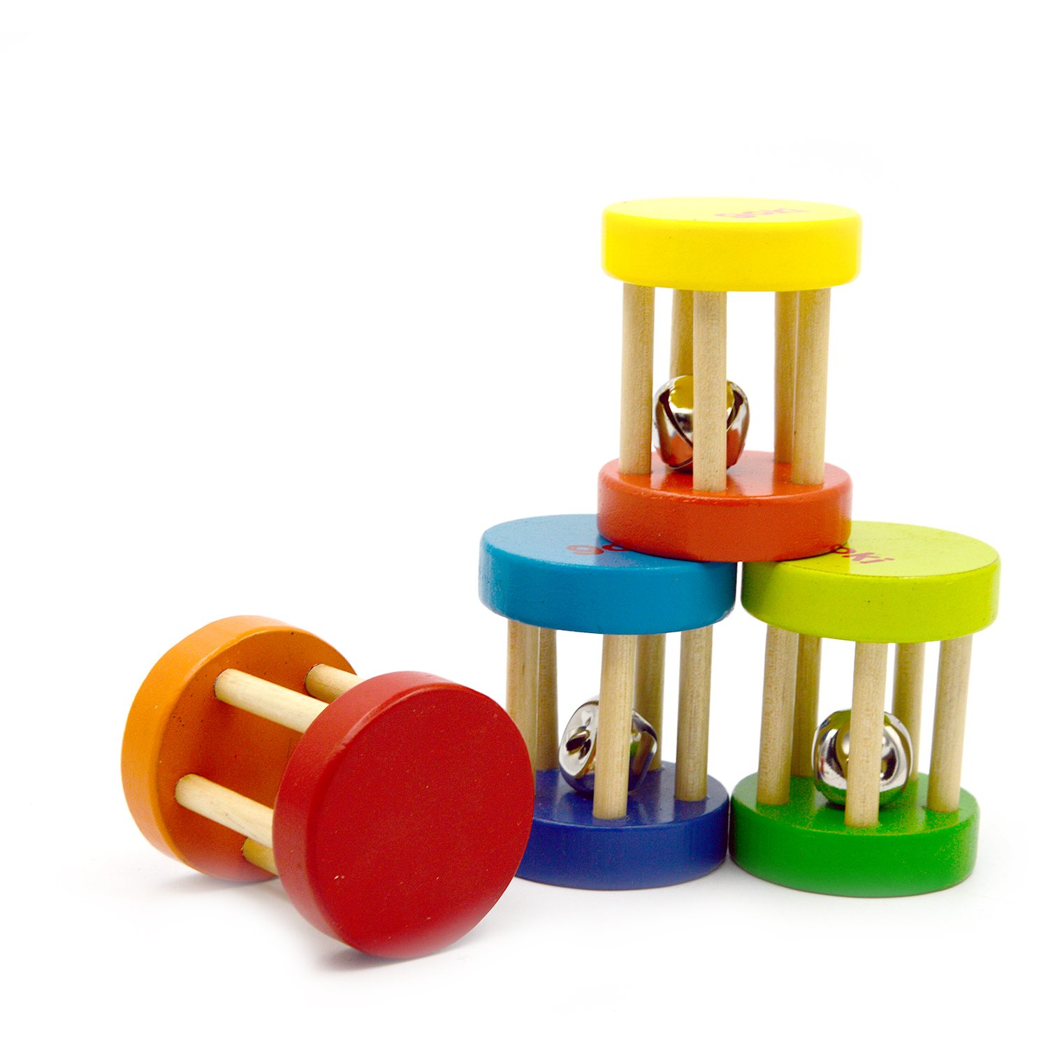 Baby 1pcs Montessori Wooden Cage Rattles Toy Musical Hand Bell Instruments Shaking Handbell Toys Intellectual Educational Toys