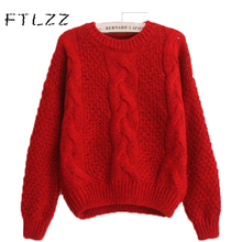 FTLZZ Women Sweater Pullovers Fashion Casual Long Sleeve O-neck Twist Knitted Christmas  Short section long sleeve sweater