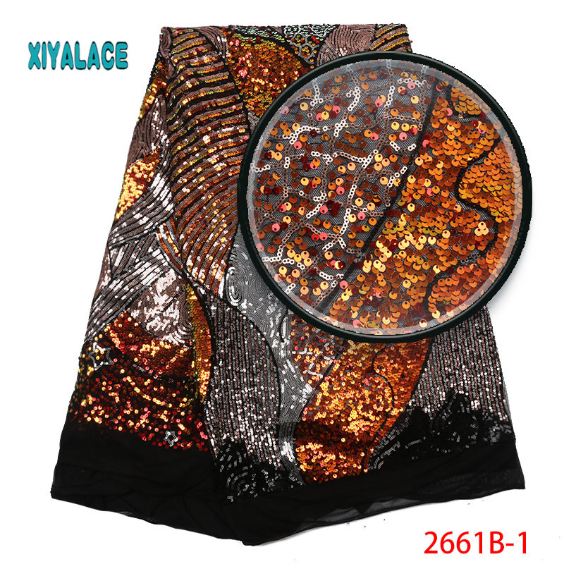 African Lace Fabric Luxury High Quality French Organza Lace Fabric 2019 New Arrival Sequins Lace Fabrics For Wedding YA2661B-1