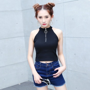 Sexy Crop Top Women's Casual Strapless Halter Neck Slim Tanks Tops Vests Sleeveless Knitted Tops striped halter neck crop shell top