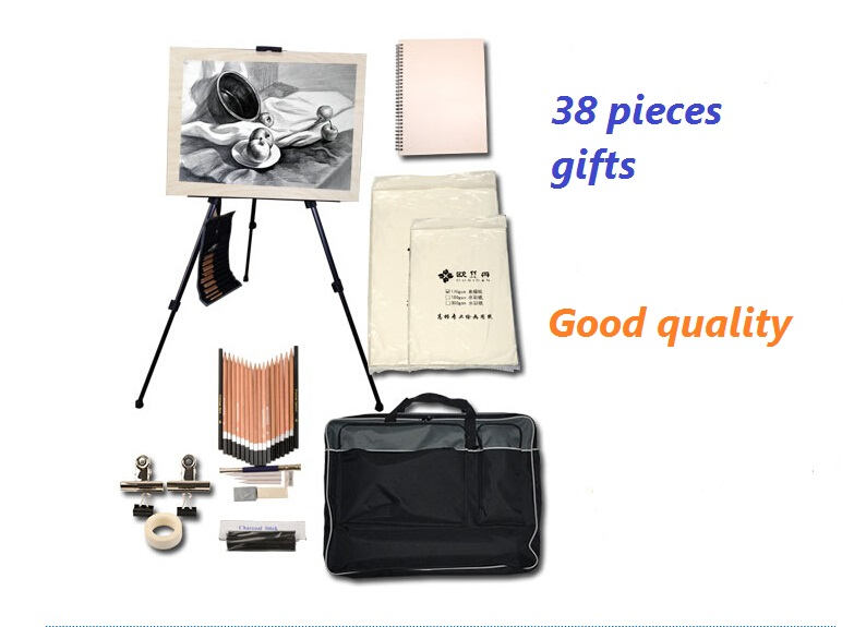 New product 38 pieces gifts sketch for painting sketchpad pencil sketch suits Atr set painting set with Easel painting bag kitmmm559unv55400 value kit post it easel pads self stick easel pads mmm559 and universal economy woodcase pencil unv55400