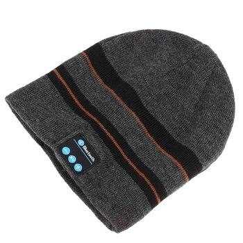 Bluetooth Music Soft Warm Beanie Hat Cap with Stereo Headphone Headset Speaker Wireless Mic Hands-free for Men Women Gift-Gray