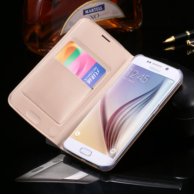 book style slim flip wallet leather case for samsung galaxy s6 edgebook style slim flip wallet leather case for samsung galaxy s6 edge g9250 clear plastic insert
