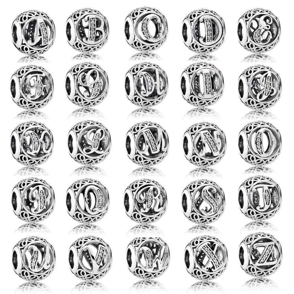 Qualidade superior 100% 925 sterling silver Céu Aberto 26 Letras Do Alfabeto encantos Fit beads charm Bracelet Bangle 925 jóias de prata DIY