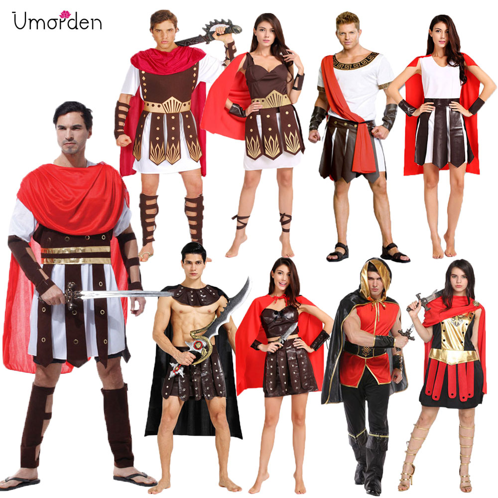 Umorden Halloween Carnival Party Costume Adult Couple Roman Greek Armor Soldier Warrior Gladiator Costumes Dresses For Men Women
