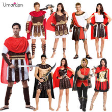 Umorden Halloween Carnival Party Costume Adult Couple Roman Greek Armor Soldier Warrior Gladiator Costumes Dresses for Men Women polyresin ancient greek roman warrior armor model creative home decration aircraft gift
