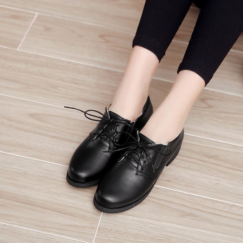 Size 34 48 Spring Autumn Lace Up Flat Shoes Women Classic Solid Color Round Toe Oxfords Shoes High Quality Retro Casual Shoes in Women 39 s Flats from Shoes