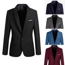 Men Fashion Slim Fit Formal One Button Suit Blazer Coat Jacket Outwear Top