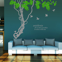 High Quality DIY Large 3D Green Tree Living Room Home Decor Wall Sticker Flower Birds Kids Rooms Decoration Wall Decal Stickers