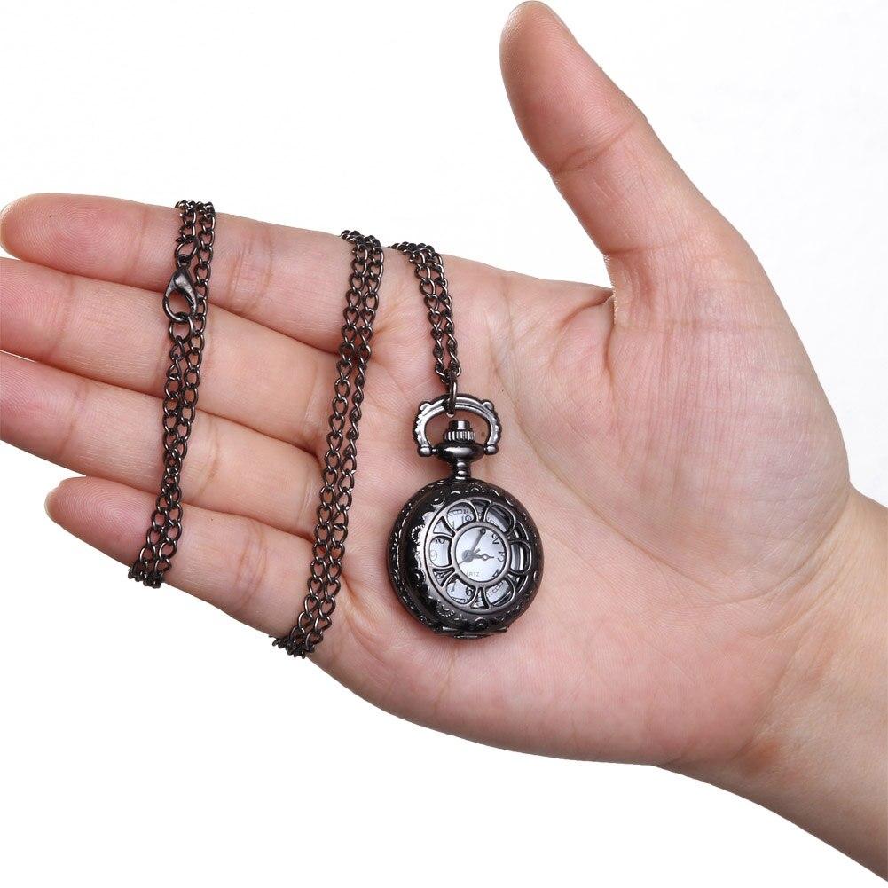 Quartz Pocket Watch Alloy Chain Hollow Out Flower Flip Cover Vintage Pendant Watches For Women LXH