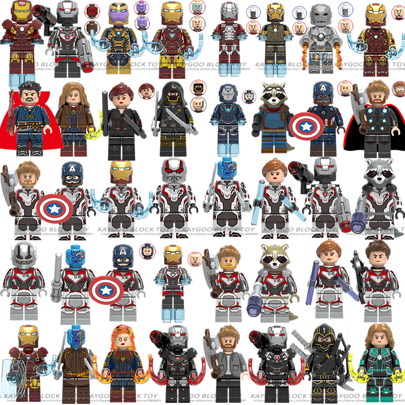 Legoed Marvel Avengers 4 endgame Captain America iron man Thanos Hulk Building Blocks Figures นินจารถจักรยานยนต์ของเล่นเด็ก