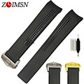 ZLIMSN 20mm New Black Diving Silicone Watchbands Rubber Curved End Watch Band Strap & Clasp Buckle TAG120